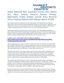 Industrial Data Acquisition Systems Sales Market Analysis To 2016