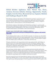 Kitchen Appliances Sales Market Segment Forecasts 2016