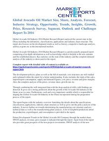 Avocado Oil Market Overview, Size, Share And Analysis To 2016