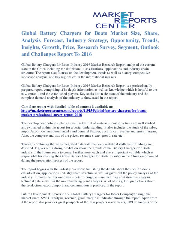 Battery Chargers for Boats Market Share, Size And Trends To 2016 Battery Chargers for Boats Market