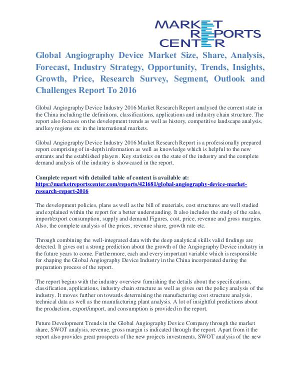 Angiography Device Market Size And Industry Analysis Report To 2016 Angiography Device Market