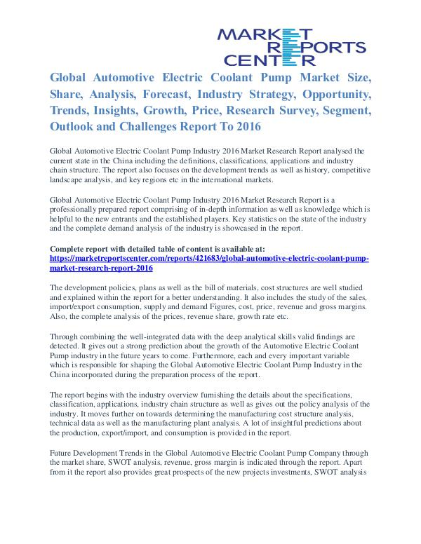 Automotive Electric Coolant Pump Market Cost and Revenue Report 2016 Automotive Electric Coolant Pump Market
