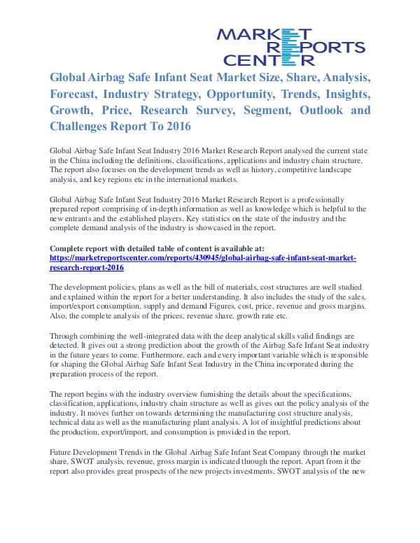 Airbag Safe Infant Seat Market Growth, Trends, Industry Analysis 2016 Airbag Safe Infant Seat Market