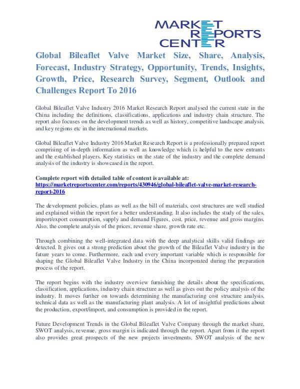 Bileaflet Valve Market Size, Share, Growth, Trends and Forecast 2016 Bileaflet Valve Market