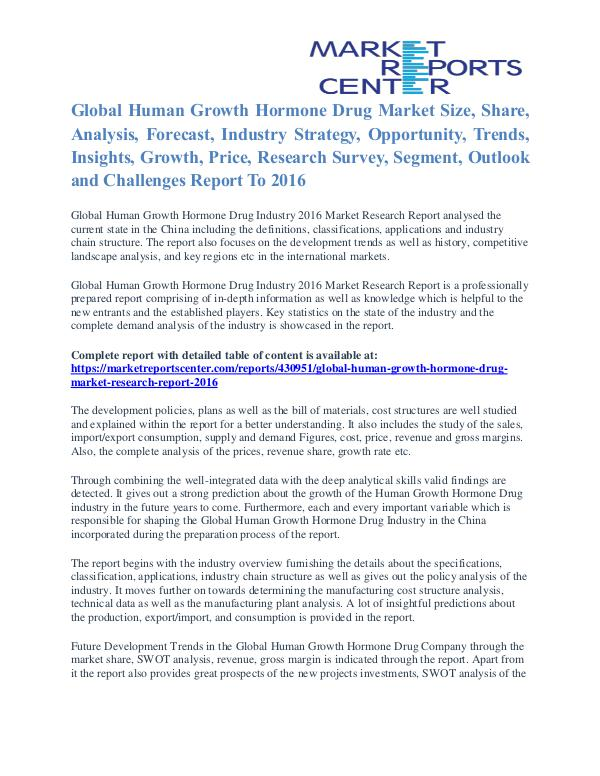 Human Growth Hormone Drug Market Size, Application And Segment 2016 Human Growth Hormone Drug Market