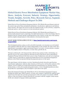 Electric Power Distribution Equipment Market Segment Report To 2016