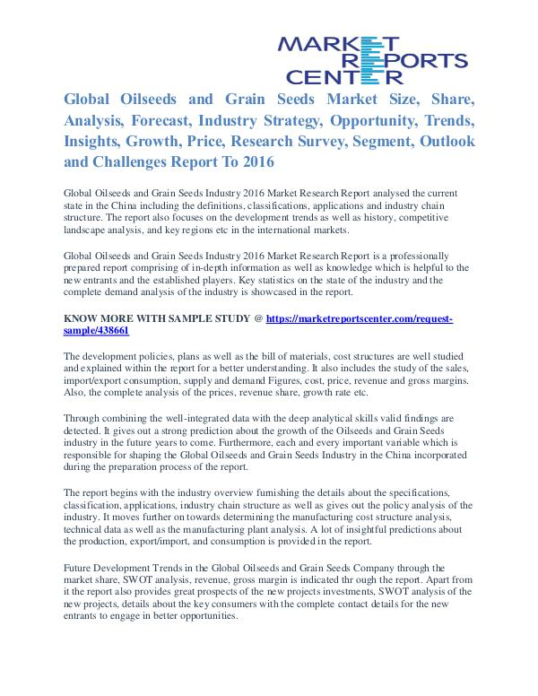 Oilseeds and Grain Seeds Market Value and Segmentation Trends To 2016 Oilseeds and Grain Seeds Market