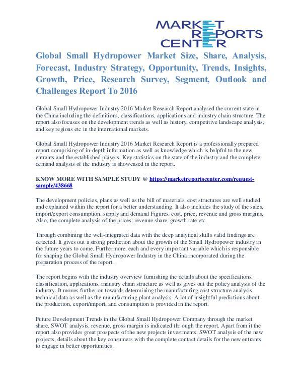 Small Hydropower Market Cost and Revenue Report To 2016 Small Hydropower Market