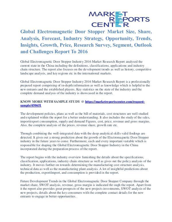 Electromagnetic Door Stopper Market Insights And Trends To 2016 Electromagnetic Door Stopper Market
