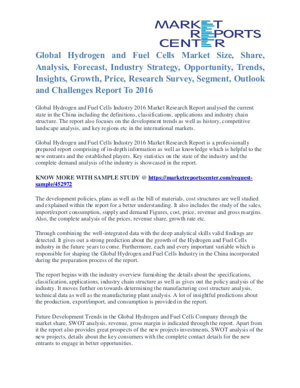 Hydrogen and Fuel Cells Market Shares, Growth And Demand To 2016 Hydrogen and Fuel Cells Market
