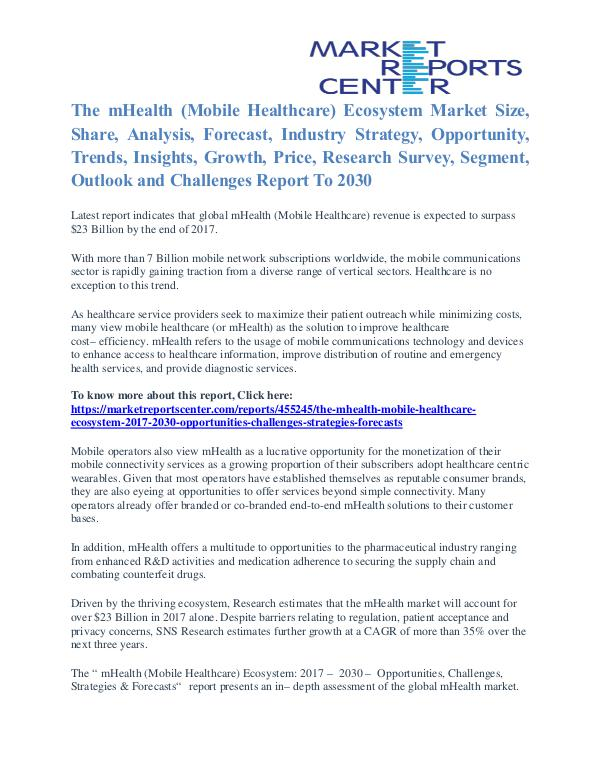 The MHealth (Mobile Healthcare) Ecosystem Market Outlook To 2030 The mHealth (Mobile Healthcare) Ecosystem Market