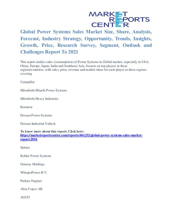 Power Systems Sales Market Price Trends And Segment Forecasts To 2021 Power Systems Sales Market