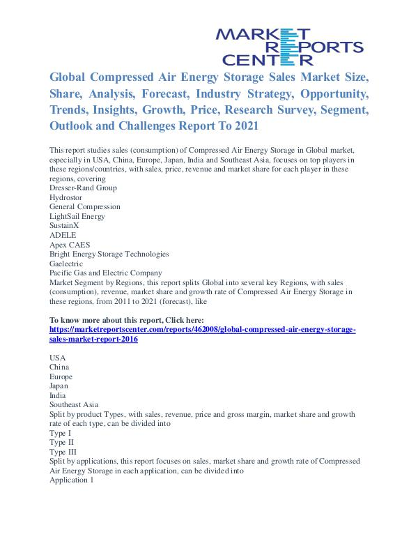 Compressed Air Energy Storage Sales Market Price and Growth To 2021 Compressed Air Energy Storage Sales Market
