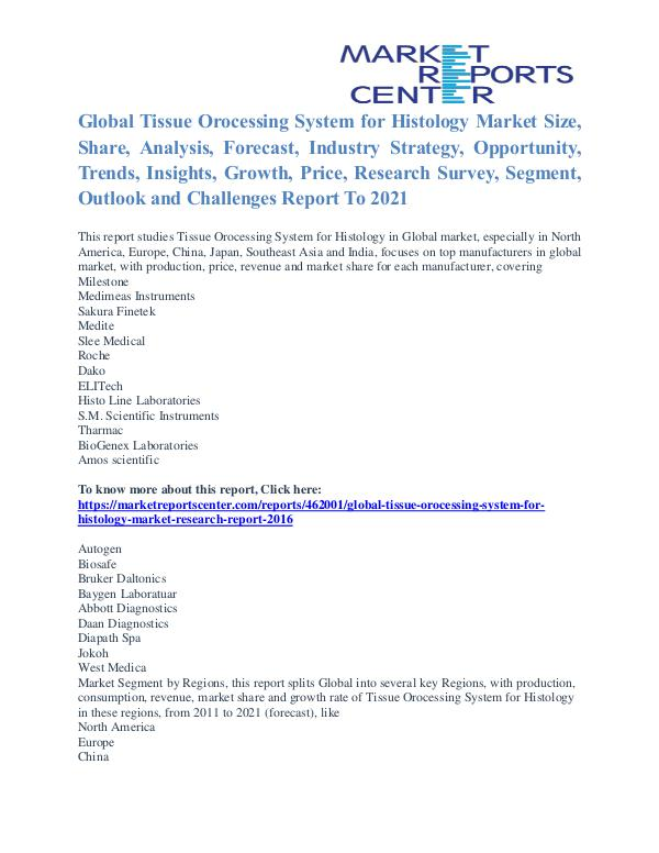 Tissue Orocessing System for Histology Market Analysis To 2021 Tissue Orocessing System for Histology Market