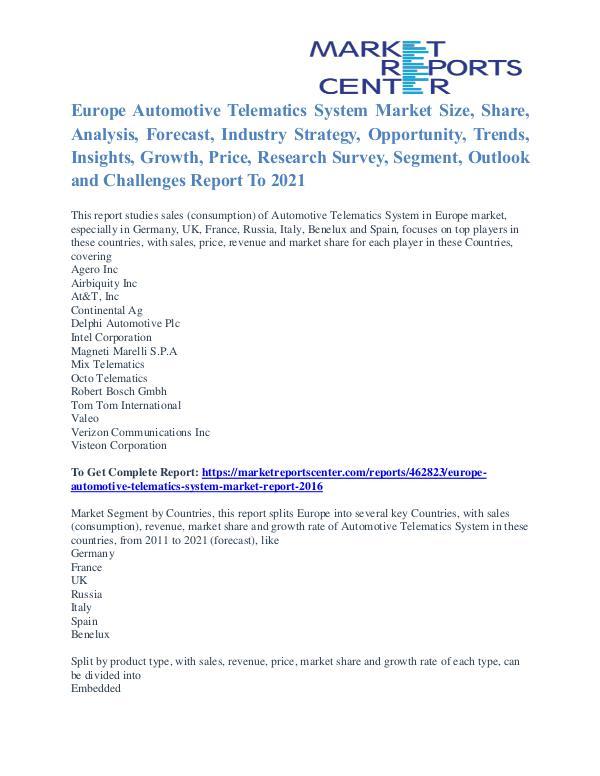 Europe Automotive Telematics System Market Segmentation Trends 2021 Europe Automotive Telematics System Market