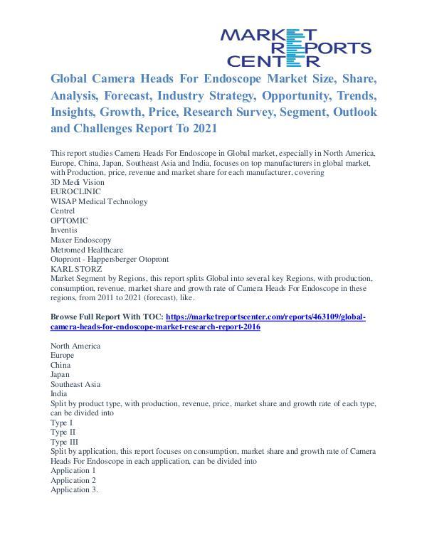 Camera Heads for Endoscope Market Key Vendors, Driver, Challenge 2021 Camera Heads For Endoscope Market