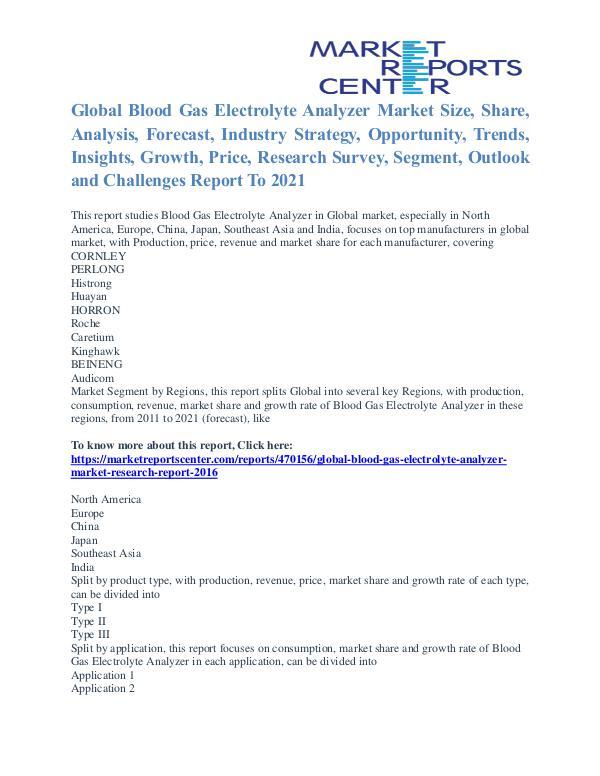 Blood Gas Electrolyte Analyzer Market Business Outlook To 2021 Blood Gas Electrolyte Analyzer Market