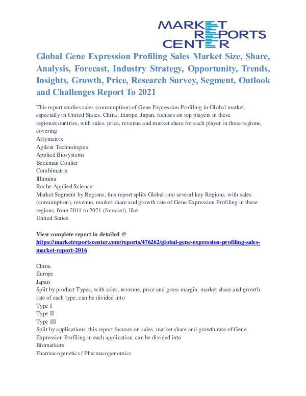 Gene Expression Profiling Sales Market Application And Segment 2021 Gene Expression Profiling Sales Market