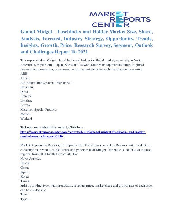 Midget - Fuseblocks and Holder Market Competitive Growth To 2021 Midget - Fuseblocks and Holder Market
