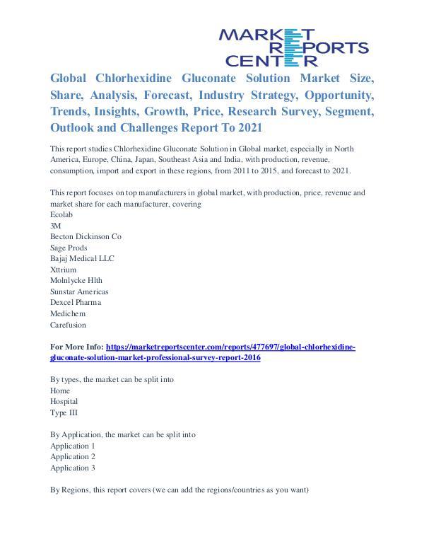 Chlorhexidine Gluconate Solution Market Trends and Analysis To 2021 Chlorhexidine Gluconate Solution Market