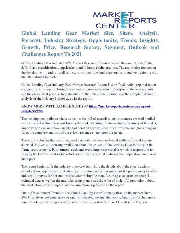 Landing Gear Market Analysis and Forecast to 2021 Landing Gear Market