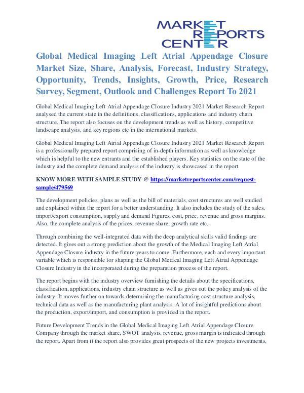 Medical Imaging Left Atrial Appendage Closure Market Strategy To 2021 Medical Imaging Left Atrial Appendage Closure Mark