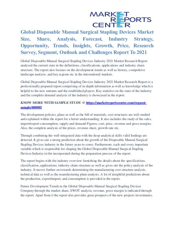 Disposable Manual Surgical Stapling Devices Market Key Vendors 2021 Disposable Manual Surgical Stapling Devices Market