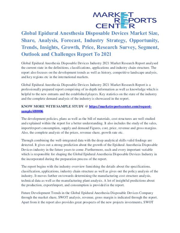 Epidural Anesthesia Disposable Devices Market Trends Analysis To 2021 Epidural Anesthesia Disposable Devices Market