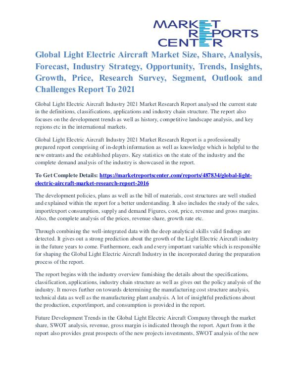 Light Electric Aircraft Market Strategies And Applications To 2021 Light Electric Aircraft Market