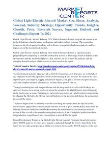 Light Electric Aircraft Market Strategies And Applications To 2021
