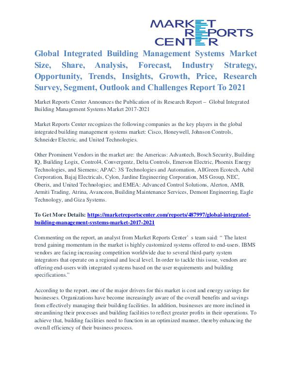 Integrated Building Management Systems Market Share Analysis To 2021 Integrated Building Management Systems Market