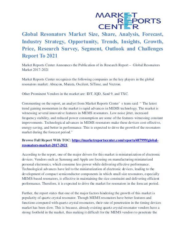 Resonators Market Segmentation and Major Players Analysis To 2021 Resonators Market