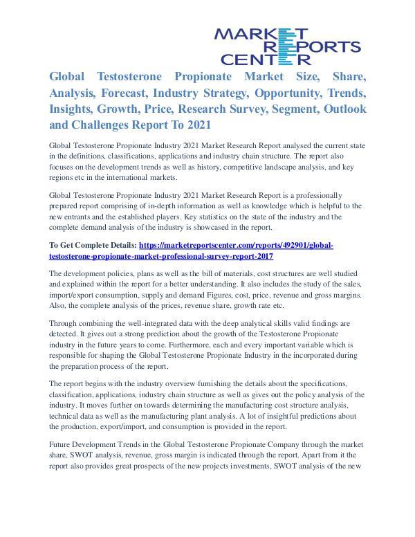 Testosterone Propionate Market Supply And Consumption 2017 To 2021 Testosterone Propionate Market