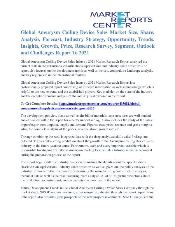 Aneurysm Coiling Device Sales Market Expert Review To 2021 Aneurysm Coiling Device Sales Market