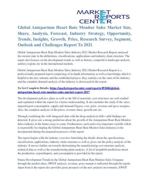 Antepartum Heart Rate Monitor Sales Market Outlook To 2021 Antepartum Heart Rate Monitor Sales Market