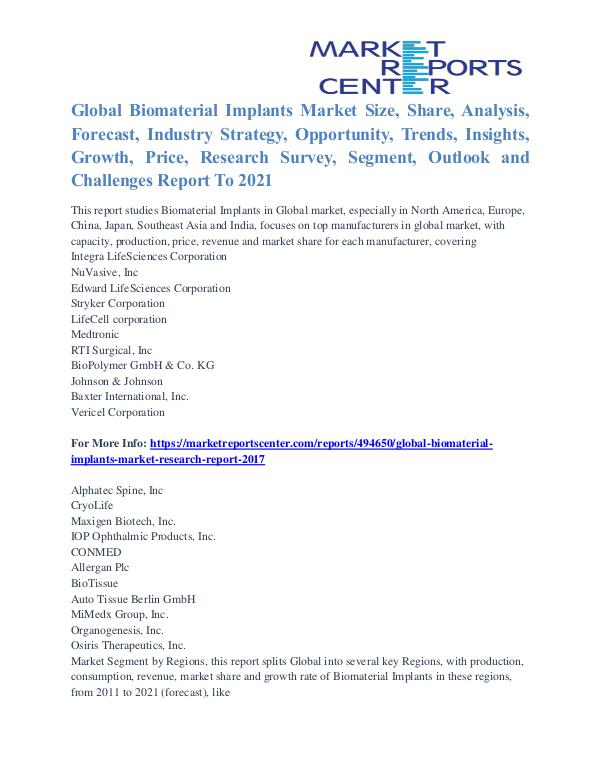 Biomaterial Implants Market Analysis and Forecast to 2021 Biomaterial Implants Market