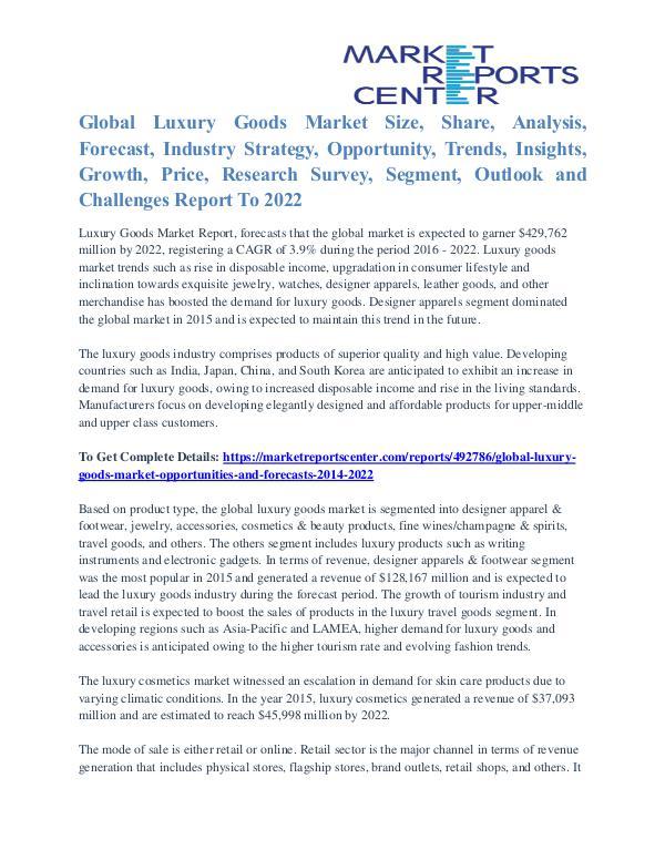 Luxury Goods Market Major Players Analysis and Forecast to 2022 Luxury Goods Market