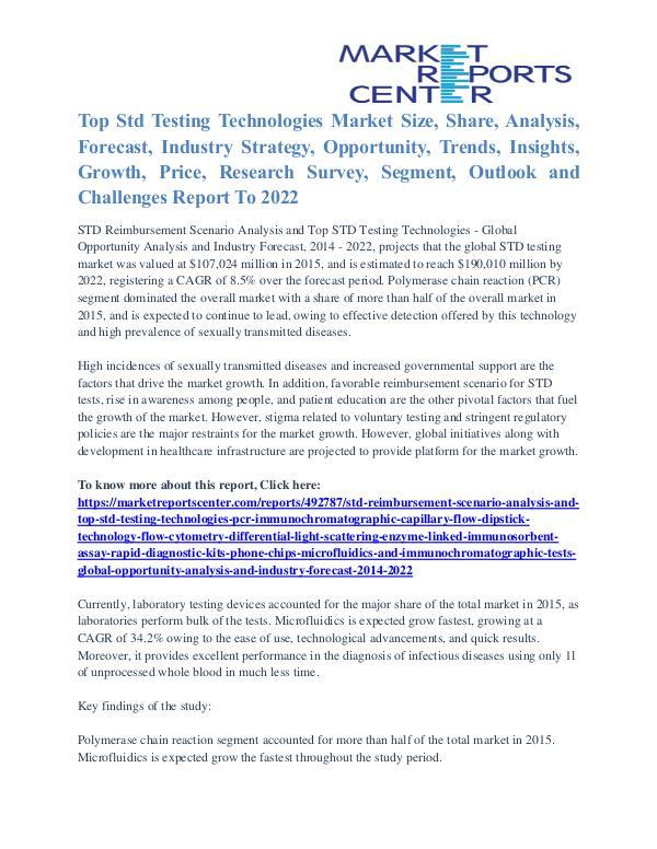 Top Std Testing Technologies Market Analysis, Demand, Forecast 2022 Std Reimbursement Scenario Analysis And Top Std Te