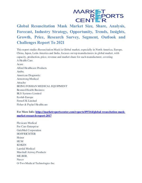 Resuscitation Mask Market Share, Competitive, Growth & Forecast 2021 Resuscitation Mask Market