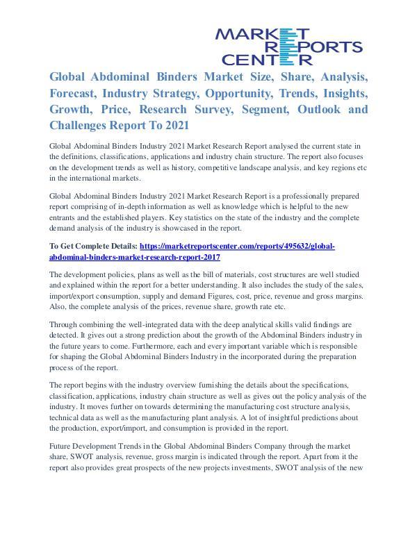 Abdominal Binders Market Segments And Trends To 2021 Abdominal Binders Market