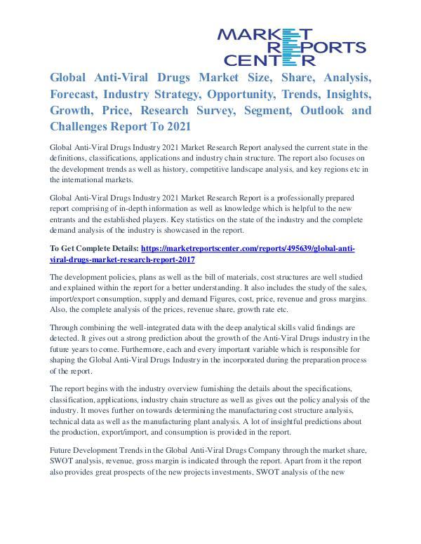 Anti-Viral Drugs Market Segmentation and Major Players Analysis 2021 Anti-Viral Drugs Market
