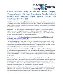 Anti-Viral Drugs Market Segmentation and Major Players Analysis 2021
