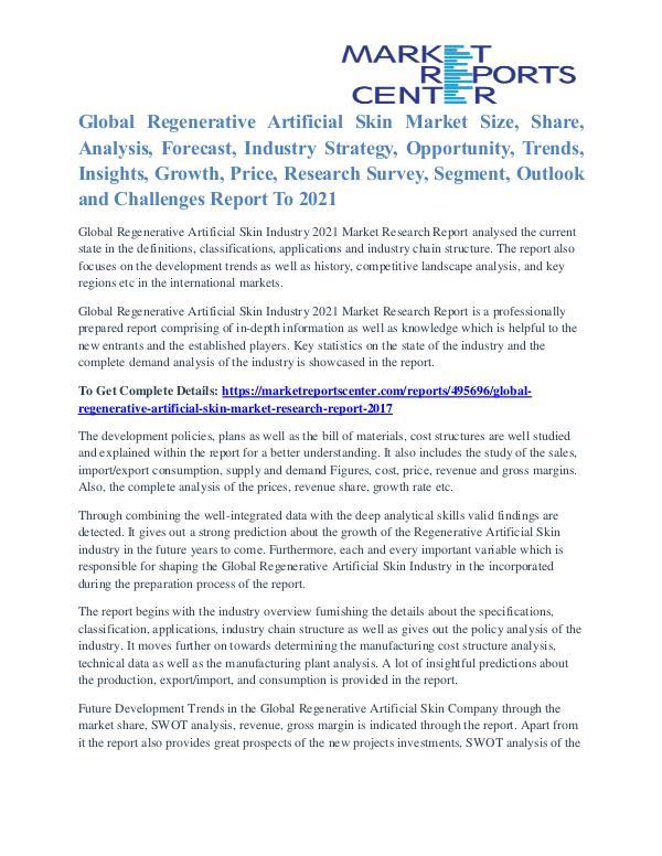 Regenerative Artificial Skin Market Strategies Analysis To 2021 Regenerative Artificial Skin Market