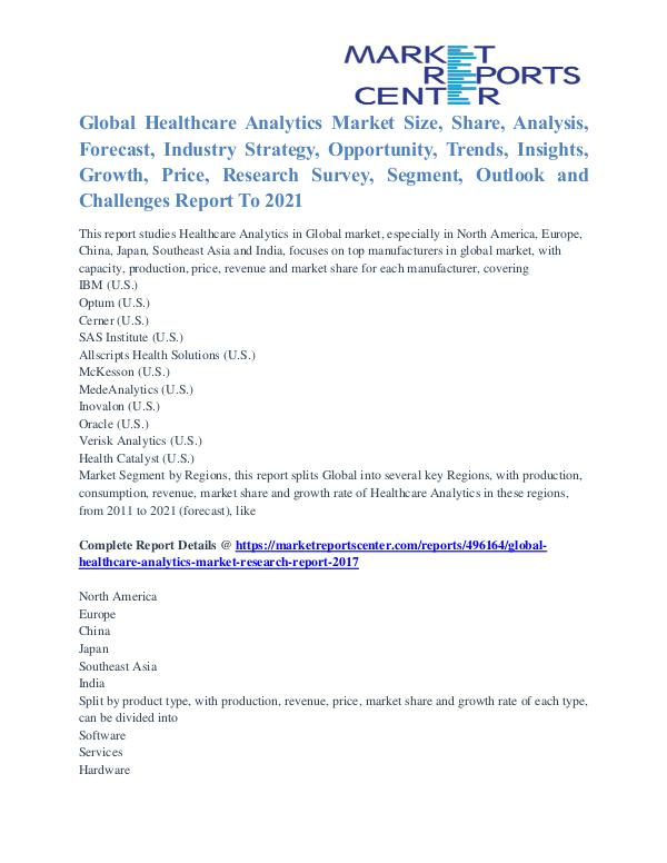 Healthcare Analytics Market Segmentation and Major Players 2021 Healthcare Analytics Market