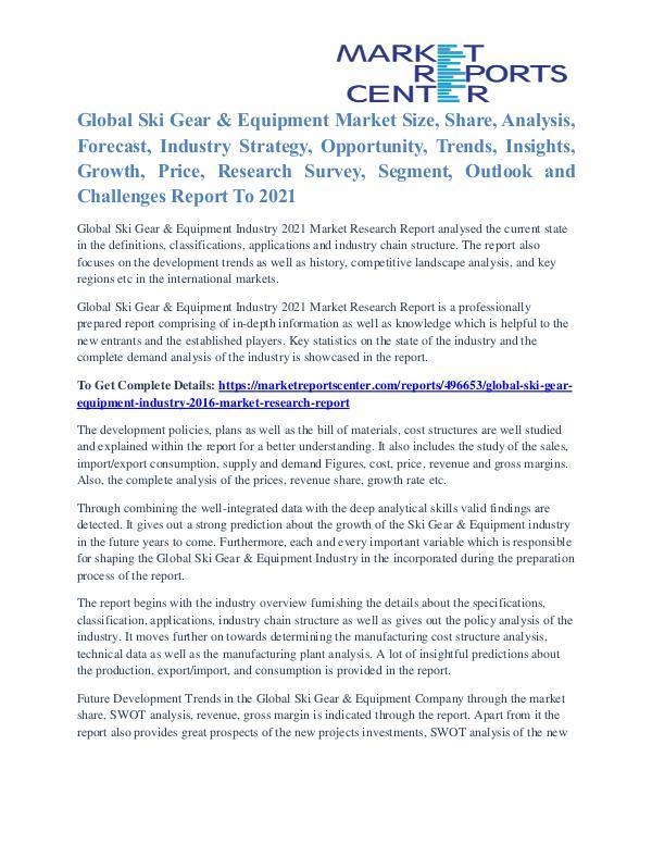 Ski Gear & Equipment Market Analysis, Demand And Forecast To 2021 Ski Gear & Equipment Industry 2016