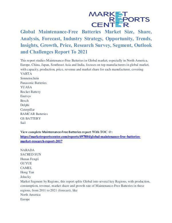 Maintenance-Free Batteries Market Size, Growth And Share To 2021 Maintenance-Free Batteries Market