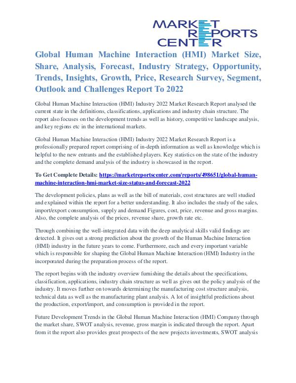 Human Machine Interaction (HMI) Market Size, Share And Growth To 2022 Human Machine Interaction (HMI) Market