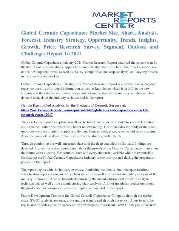 Ceramic Capacitance Market Share, Supply And Consumption 2017 To 2021 Ceramic Capacitance Market