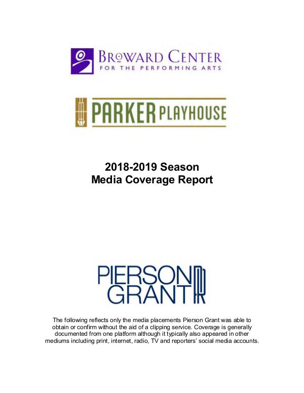 Broward Center Coverage Highlights 2018-2019 Highlights