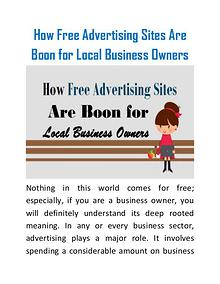 How Free Advertising Sites Are Boon for Local Business Owners